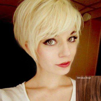 Cute Short Fluffy Side Bang Human Hair Wig For Women