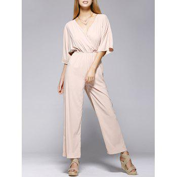 Stylish Pure Color Half Sleeve Jumpsuit  For Women