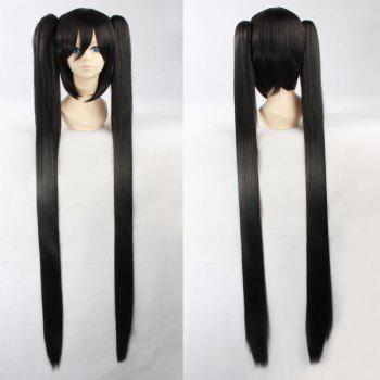 Fashion Synthetic Black Straight Long with Bunches Rock Miku Cosplay Wig
