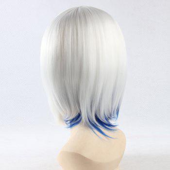 Fashion Synthetic White Mixed Blue Straight Long with Bunches Snow Hatsune Miku Cosplay Wig - COLORMIX