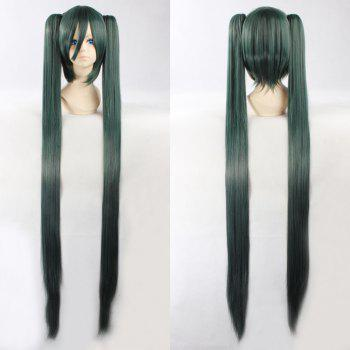 Fashion Synthetic Dark Green Omber Straight Long with Bunches Senbonzakura Hatsune Miku Cosplay Wig