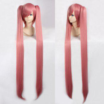 Fashion Synthetic Smoke Pink Straight Long with Bunches Luka Hatsune Miku Cosplay Wig