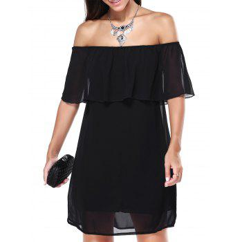 Off The Shoulder Overlay Chiffon Dress