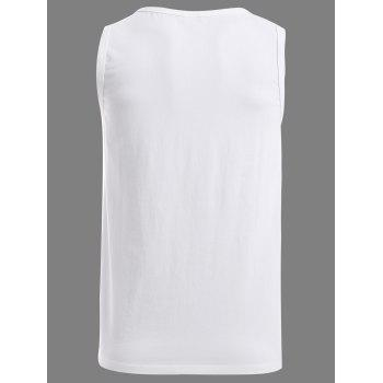 BoyNewYork Round Neck Solid Color Tank Top - WHITE S