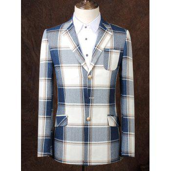 Lapel Single Breasted Design Checked Pattern Men's Business Suit