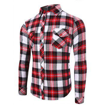 Tartan Pattern Pockets Turn-Down Collar Long Sleeve Men's Shirt
