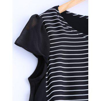 Oversized Chic Striped Chiffon Spliced Blouse - BLACK 3XL