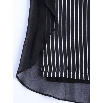 Oversized Chic Striped Chiffon Spliced Blouse - BLACK BLACK