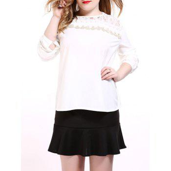 Oversized Sweet Long Sleeve Lace Splicing Blouse