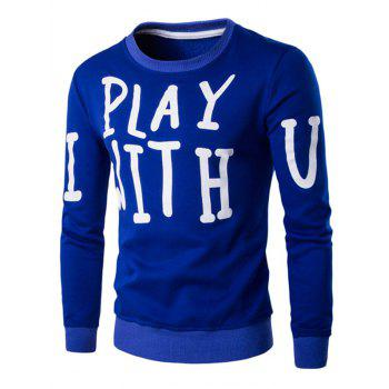 Buy Letter Print Crew Neck Long Sleeve Men's Pullover Sweatshirt SAPPHIRE BLUE