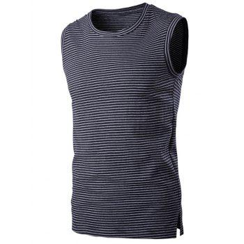 Striped Slit Round Neck Men's Tank Top