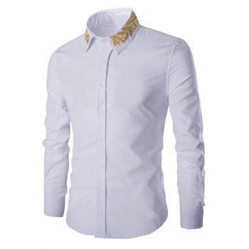 Turn-Down Collar Olive Branch Embroidery Long Sleeve Men's Shirt