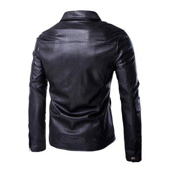 Single Breasted Turn-Down Collar Long Sleeve Men's PU-Leather Jacket - BLACK XL