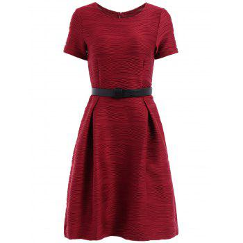 Ladylike Scoop Neck Short Sleeve Solid Color Ruched Women's Dress