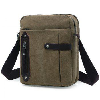 Simple Zippers and Canvas Design Men's Messenger Bag
