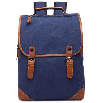 Trendy Color Block and Double Buckle Design Men's Backpack - DEEP BLUE DEEP BLUE