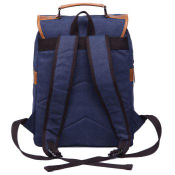 Trendy Color Block and Double Buckle Design Men's Backpack - DEEP BLUE