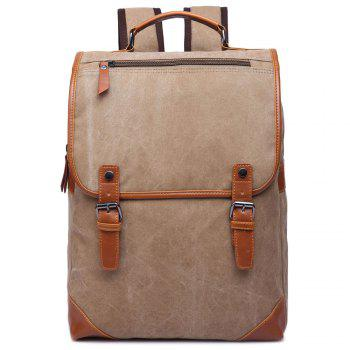 Trendy Color Block and Double Buckle Design Men's Backpack - KHAKI KHAKI