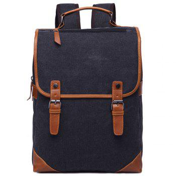 Trendy Color Block and Double Buckle Design Men's Backpack - BLACK BLACK