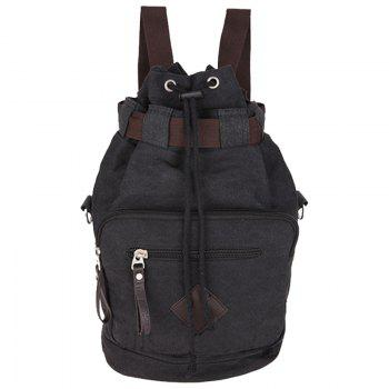 Concise Drawstring and Zippers Design Men's Backpack - BLACK BLACK