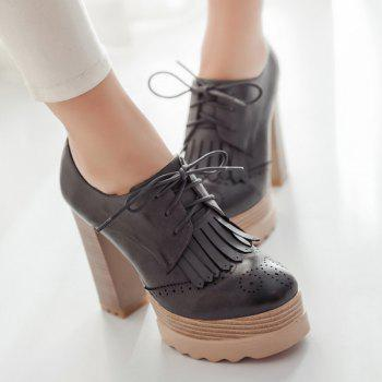 Fashionable Tie Up and Fringe Design Women's Pumps - DEEP GRAY 39