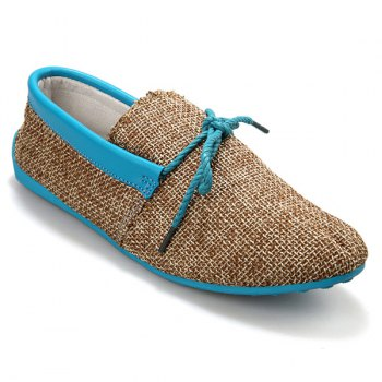 Stylish Tie Up and Linen Design Men's Casual Shoes - BLUE 40
