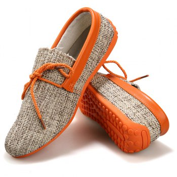 Stylish Tie Up and Linen Design Men's Casual Shoes - 44 44