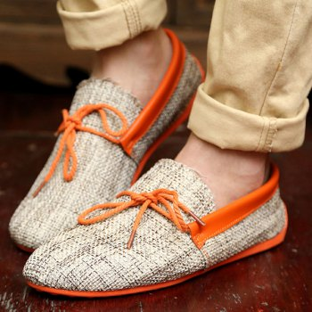 Stylish Tie Up and Linen Design Men's Casual Shoes - ORANGE 42