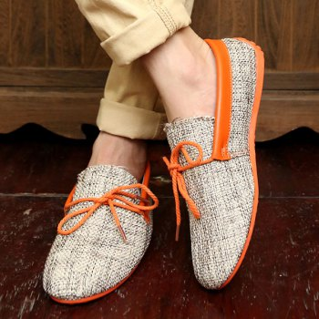 Stylish Tie Up and Linen Design Men's Casual Shoes - ORANGE 40