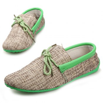 Stylish Tie Up and Linen Design Men's Casual Shoes - LIGHT GREEN 41