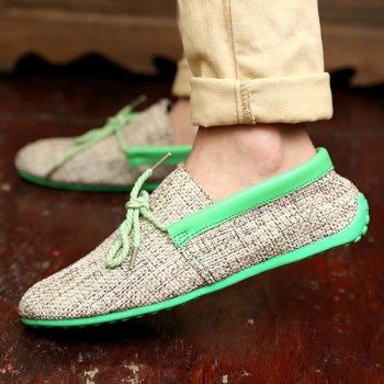Stylish Tie Up and Linen Design Men's Casual Shoes - LIGHT GREEN 42