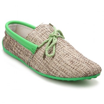 Stylish Tie Up and Linen Design Men's Casual Shoes - LIGHT GREEN 40