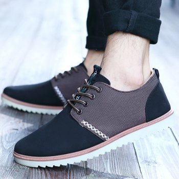 Trendy Colour Splicing and Tie Up Design Men's Casual Shoes - BLACK 40