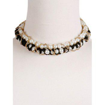 Vintage Beads Choker - WHITE/BLACK