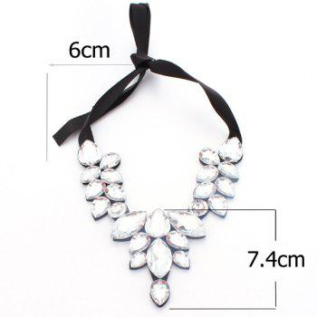 Adjustable Faux Crystal Water Drop Necklace - WHITE