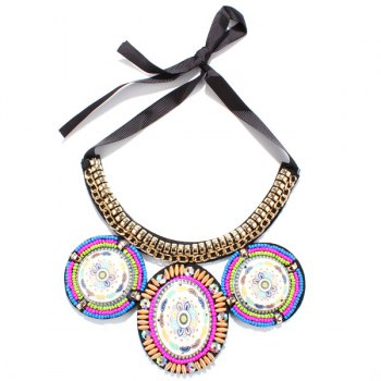 Bead Round Statement Necklace - COLORMIX