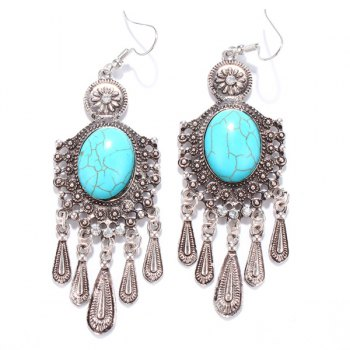 Pair of Ethnic Style Faux Turquoise Fringed Earrings - SILVER