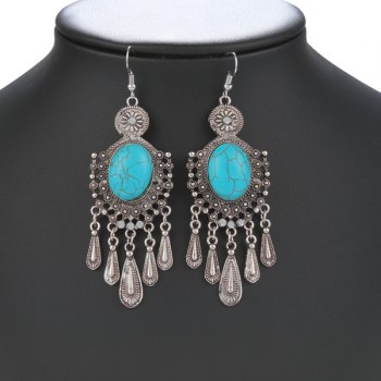 Pair of Ethnic Style Faux Turquoise Fringed Earrings