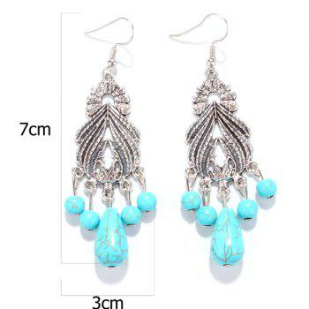 Pair of Faux Turquoise Fringed Leaf Earrings - SILVER
