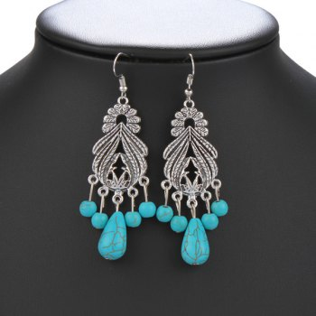 Pair of Faux Turquoise Fringed Leaf Earrings