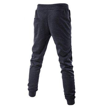 Letters Pattern Lace-Up Beam Feet Pants - DEEP GRAY DEEP GRAY
