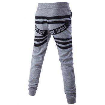 Back Stripes and Letters Pattern Lace-Up Beam Feet Pants - M M