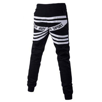 Back Stripes and Letters Pattern Lace-Up Beam Feet Pants - BLACK BLACK