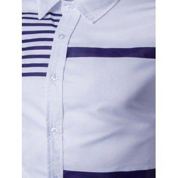 Turn-Down Collar Stripes Splicing Design Long Sleeve Men's Shirt - WHITE WHITE