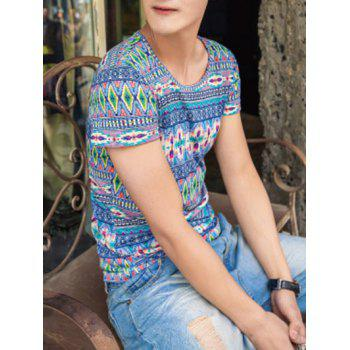 Ethnic Style Geometric Pattern Round Neck Short Sleeve Men's T-Shirt