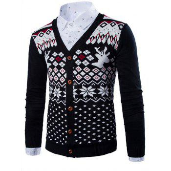 Deer Ethnic Style Geometric Pattern V-Neck Long Sleeve Men's Cardigan