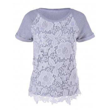 Stylish Women's Short Sleeves Round Neck Lace Splicing T-Shirt