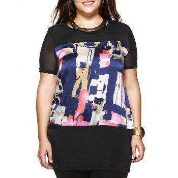 Plus Size Brief Colorful Printed Long Blouse - BLACK BLACK