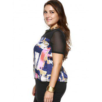 Plus Size Brief Colorful Printed Long Blouse - BLACK L