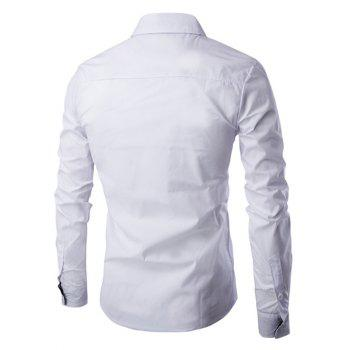 Turn-Down Collar Flap Embellished Verticla Stripe Long Sleeve Men's Shirt - WHITE 2XL